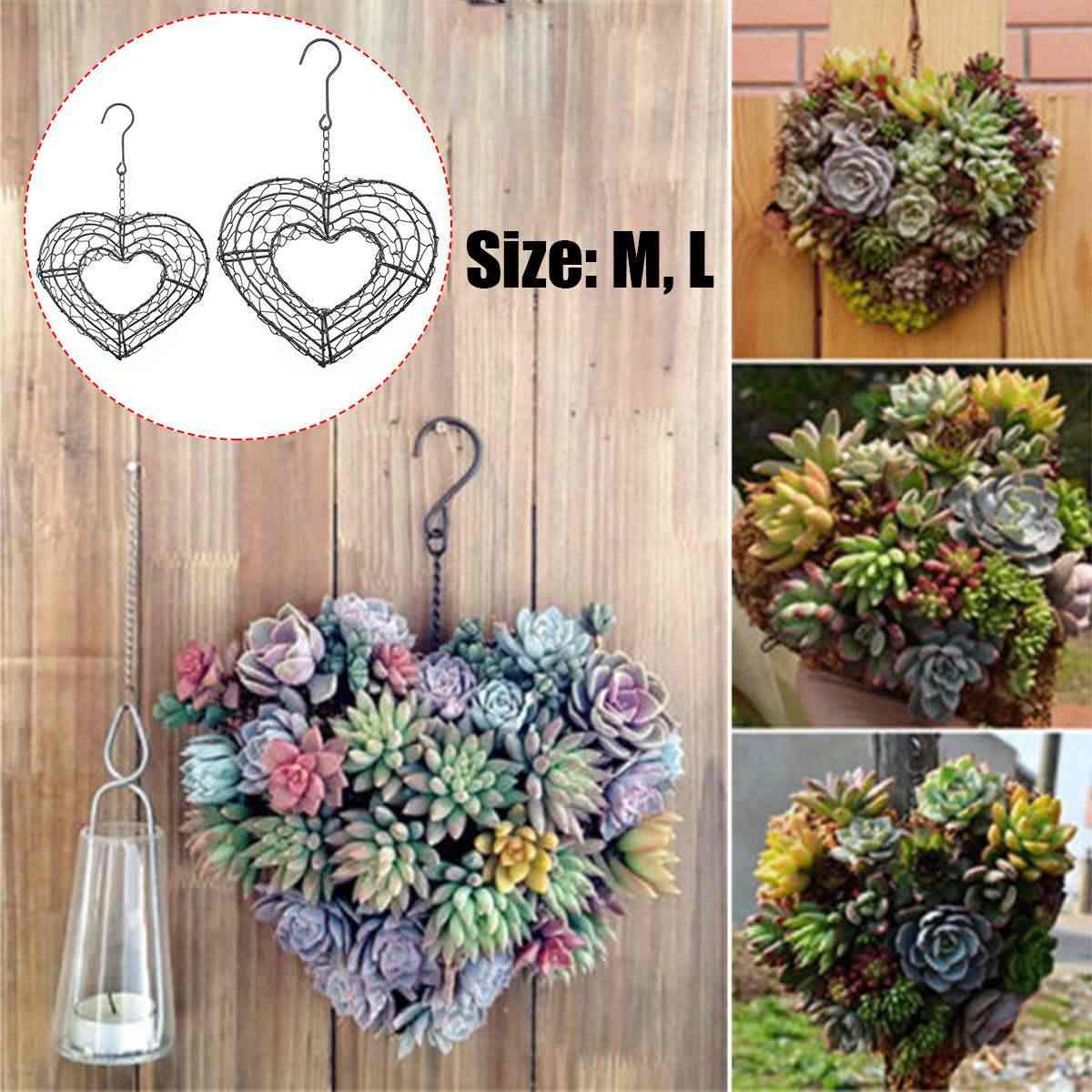 1PCS Romantic Iron Hanging Succulent Heart Shape Wreath Frame Metal Planter Holder Decor Holder Pot Basket for Succulent Plants