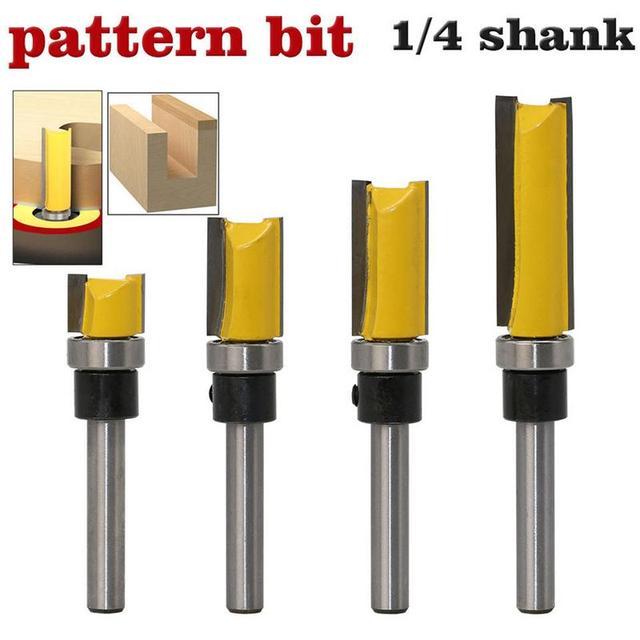 "1/4 ""Schacht Top Lager Flush Trim Patroon Router Bit Export Houtbewerking Cutter Graveermachine Trimmen Hout Cutter Tool"