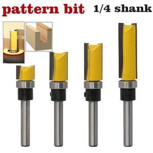 """Image 1 - Cojinete superior de vástago de 1/4 """", enrutador de patrón de ajuste al ras, broca de exportación, cortador de carpintería, máquina de grabado, herramienta para cortar madera"""