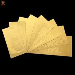 8 шт./лот 24-каратный комплект золотых банкнот 5/10/20/50/100/200/500/1000 копия знаков копия бумаги для банкнот коллекция банкнот