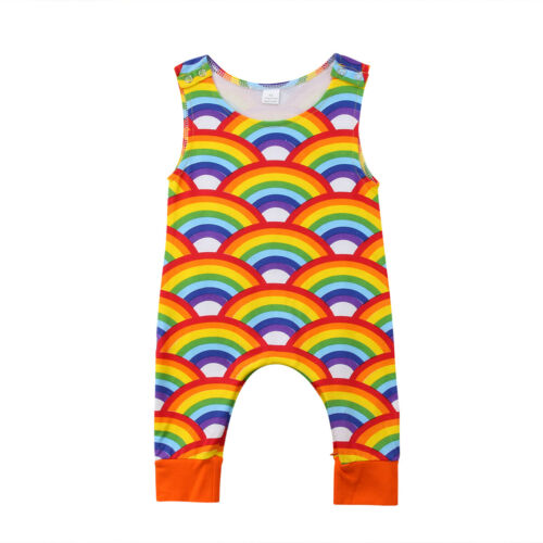 0-24M Newborn Baby Boys Girl Rainbow   Romper   Sleeveless Jumpsuit Playsuit Outfits Clothes