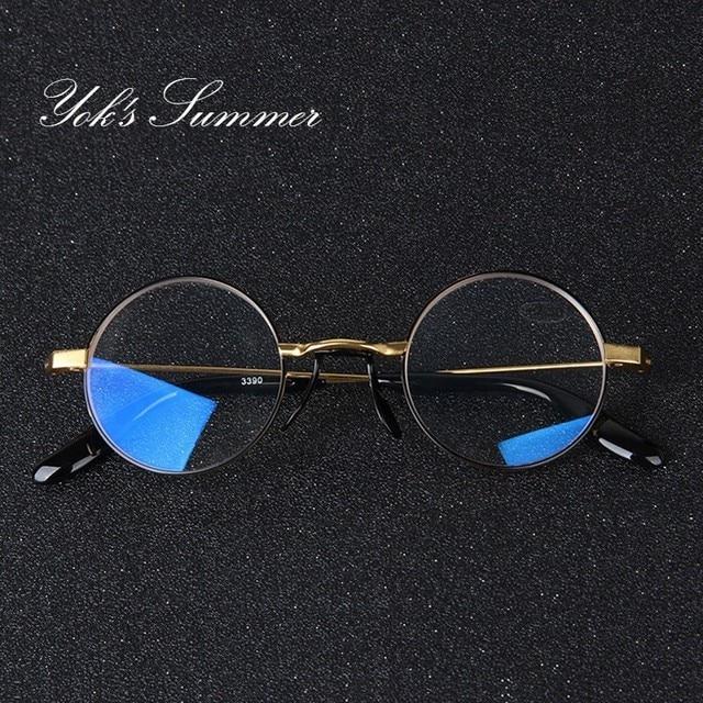 353482e4605 YOK S Round Anti Blue Ray Reading Glasses Vintage Metal Computer Optical  Myopia Presbyopic Eyewear Diopters +1.0 To +4.0 HN1212
