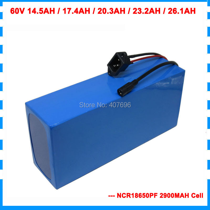 60V Ebike battery 60V 14.5AH 17.4AH 20.3AH 23.2AH 26.1AH lithium battery use for panasonic 2900mah cell With BMS 2A Charger 60V Ebike battery 60V 14.5AH 17.4AH 20.3AH 23.2AH 26.1AH lithium battery use for panasonic 2900mah cell With BMS 2A Charger