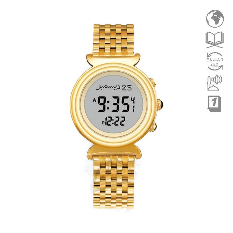 Nouveau Harameen Alfajr horloge avec Qibla Direction 6341 27mm résistant à l'eau en acier inoxydable Qibla horloge avec Azan temps dame cadeau-in Montres femme from Montres    1