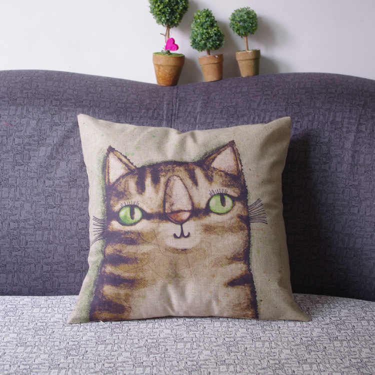 Cartoon cat printed little girl lovely quality linen couch cushion cover 45x45cm home decorative pillows for sofa bed pillowcase