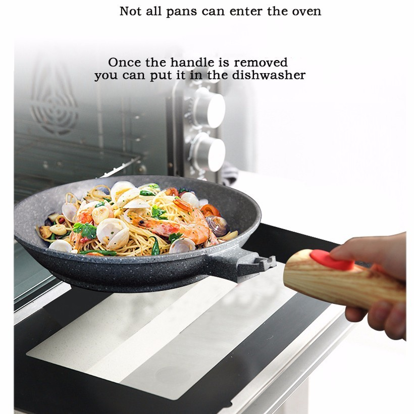 Maifan Stone Not-Sticky Removable Handle Microwave Induction Gas Frying Pan 2