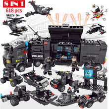 8 in 1 Building Block Bricks SWAT command car City Police Toy Car Helicopter DIY Model Educational Toys Gift Compatible Legoings enlighten city series police swat car building block sets kids educational bricks toys compatible with legoe