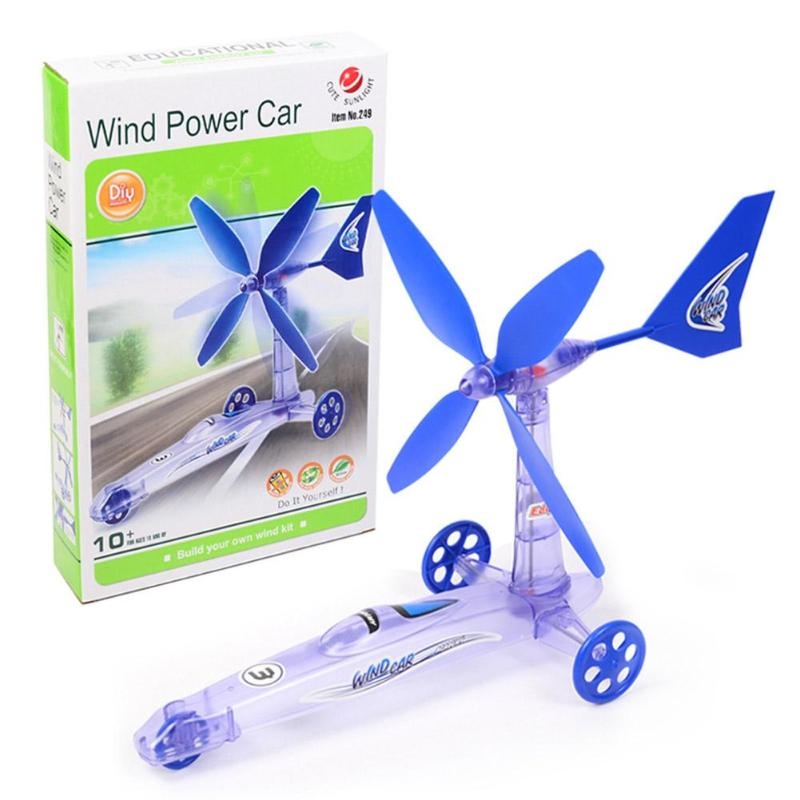 Kids DIY Wind Power Car Toy DIY Wind Energy Power Car Assembly Learning Education Children Toys Gift Teaching Toys For Kids