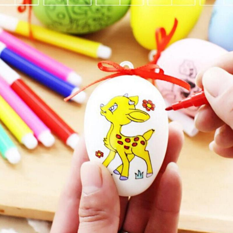 20pcs Kids Craft Drawing Easter Eggs Baby Handmade Craft Toys  Cartoon Painted Eggshell Kids Educational Toys Easter Eggs Gift