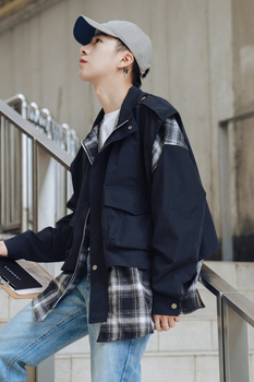 2019 Korean version of the spring new fake two-piece casual plaid jacket streetwear hip hop Cotton Punk Style XL Free shipping
