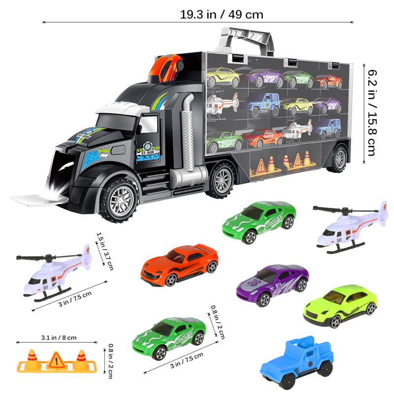 Image 4 - 16Pcs/Set Transport Car Carrier Truck Boys Toy (include Alloy 10 cars &2 Helicopters &2 Roadblocks & City Map ) For Kid Children-in Diecasts & Toy Vehicles from Toys & Hobbies