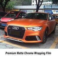 Premium orange matte chrome vinyl Wrapping Film car vinyl wrap High quality diamond glue Multiple size selection