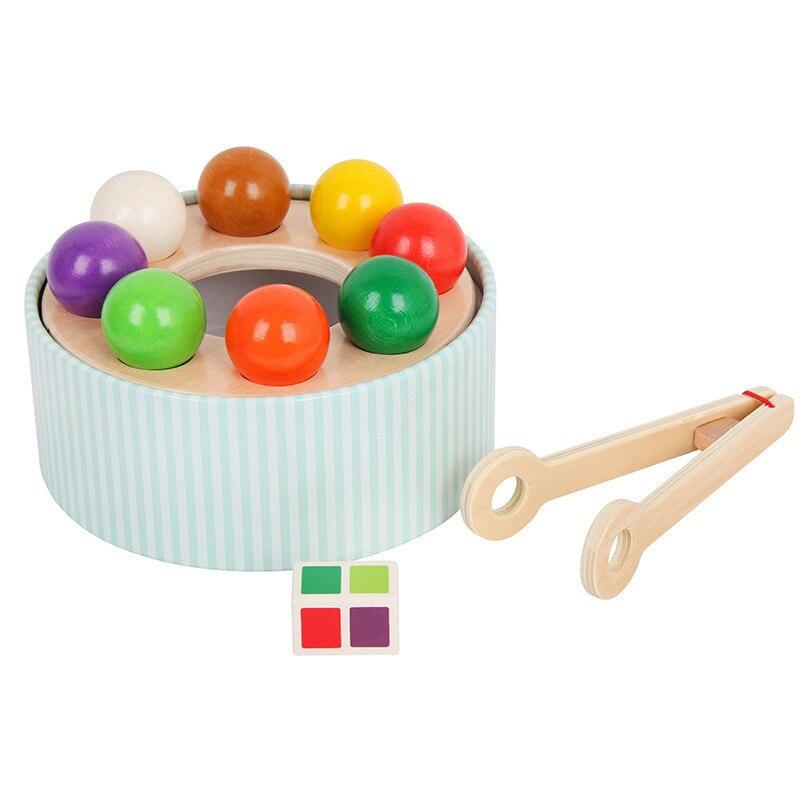 Montessori en bois ramasser les jouets de balle arc-en-ciel pour les enfants couleur apprentissage Cognition jouets interactifs éducatifs précoces