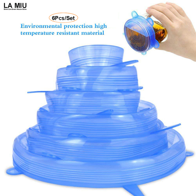 6Pcs Set Silicone Lids For Mugs Reusable Food Fresh Save Cover Universal  Durable Bowl Plate Storage Kitchen Heat Resisting ToolsUS  4.99. LA MIU ... e9114541b600