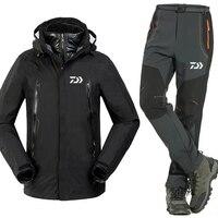 New Daiwa New Fishing Clothing Sets Men Warm Outdoor Sports Wear Set Hiking Windproof Clothes Fishing Jacket& Pants