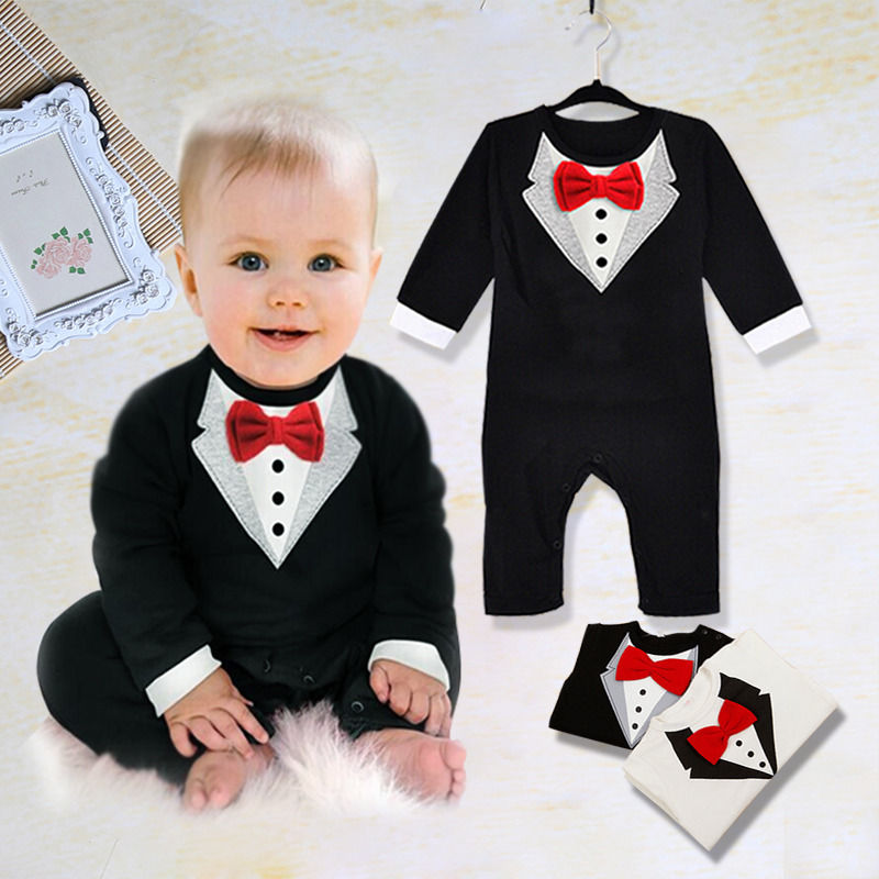 Toddler Newborn Baby Boy Wedding Formal Suit Bow Tie Gentleman   Rompers   Tuxedo Outfit Cotton Handsome Clothes 0-3T