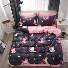 Cartoon Unicorn Bedding Sets Colorful Rainbow and Cloud Pattern Duvet Cover Set Striped Bed Sheet Pillowcases
