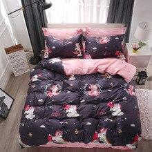 Parure de lit colorée licorne, motif arc en ciel et nuage, housse de couette, drap de lit rayé et taies doreillers