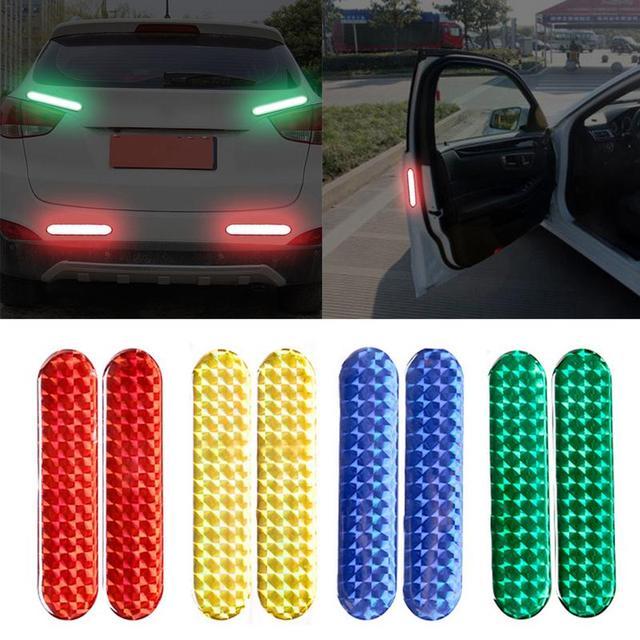 2 pièces voiture porte autocollant réfléchissant bande d'avertissement voiture autocollants réfléchissants bandes 4 couleurs marque de sécurité voiture-style