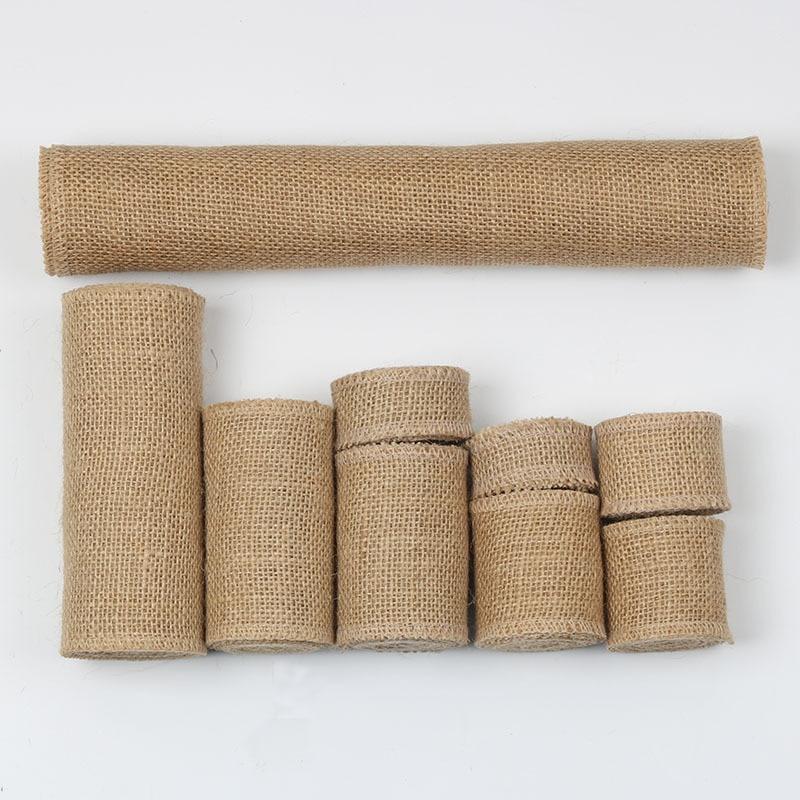 Hot 1M/Roll Jute Burlap Ribbon Natural Hemp Ribbon DIY Bag Material Wedding Party Crafts Decorative Gift Warrping