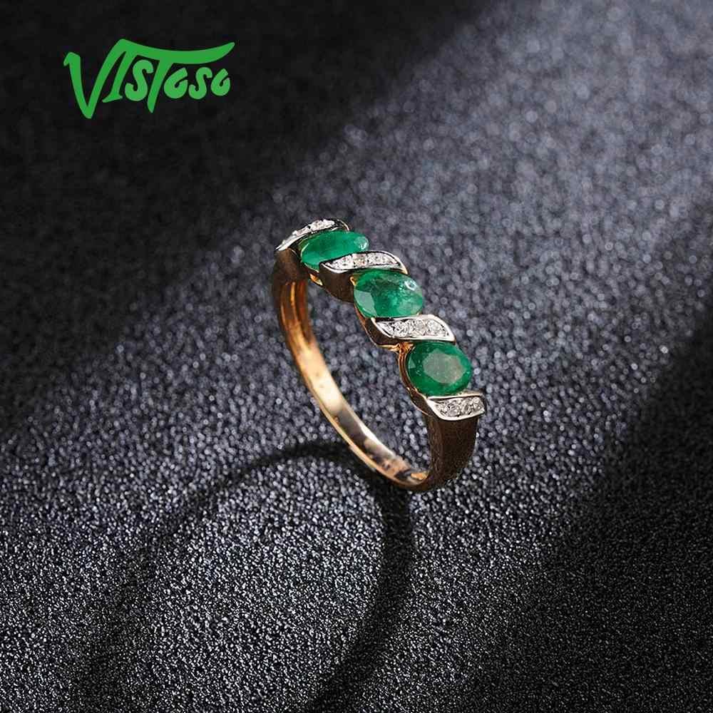 VISTOSO แหวนทองแท้ 14K 585 Rose Gold แหวนเพชร Magic Emerald แหวนหมั้นแหวนเครื่องประดับ