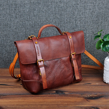 Vegetable Tanned Leather Fashion Women Handbag Handmade Vintage Unique Tote Shoulder Purse Genuine Cow Leather Ladies Body Bags