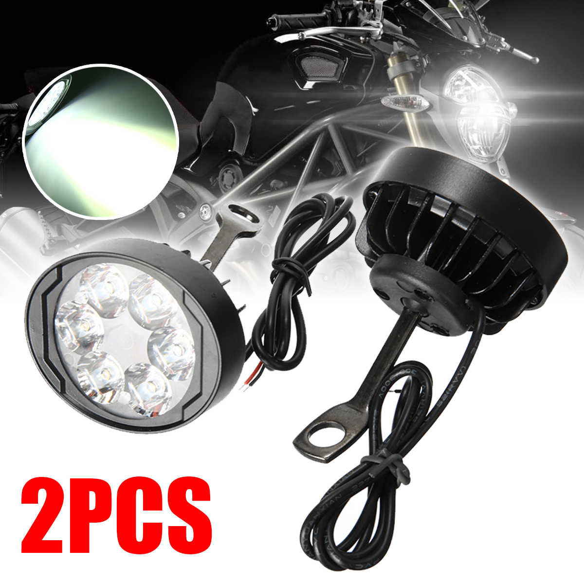 Mayitr 2pcs Universal Motorcycle E-bike 12-85V 6LED Headlight Headlamp Fog Spot Light Waterproof Lamp Bulb Scooter Accessories