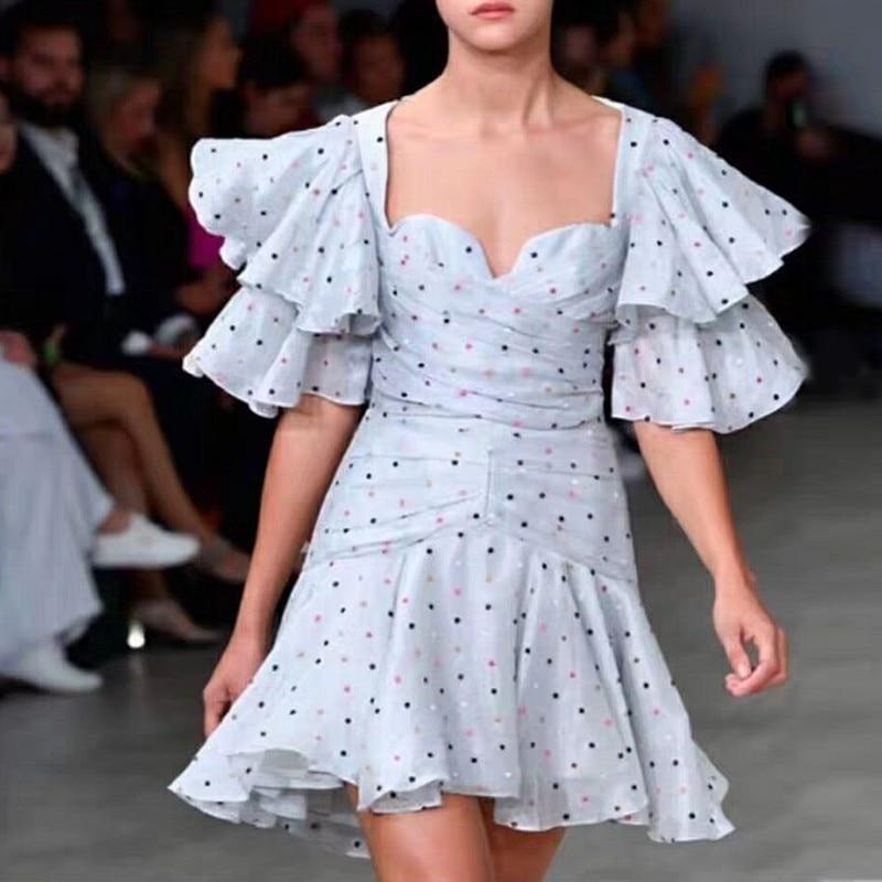 TWOTWINSTYLE عارضة البولكا نقطة النساء اللباس عالية الخصر فراشة كم غير المتكافئة سليم البسيطة فساتين الإناث الصيف 2019 الأزياء-في فساتين من ملابس نسائية على  مجموعة 3
