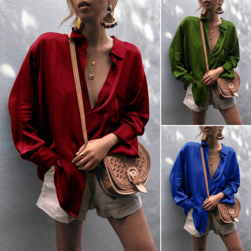 aae9439527a New UK Women V Neck Casual Silk Tops Long Sleeve Button Casual Loose Ladies  Shirt Blouse
