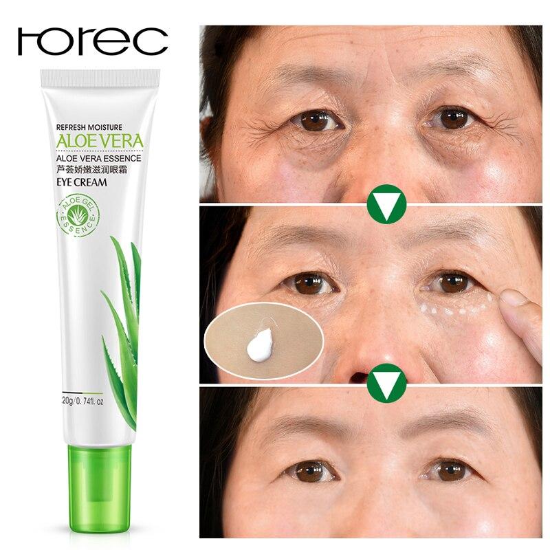 ROREC Aloe özü nemlendirici göz serumu etkili Anti koyu halkalar şişlik için Anti-aging kırışıklıkları sökücü göz kremi