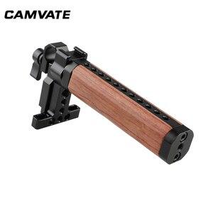Image 5 - CAMVATE kamera kafesi üst kolu ahşap grip 15mm standart tek çubuk kelepçesi ve ayakkabı dağı DSLR kamera kafesi destekleyen