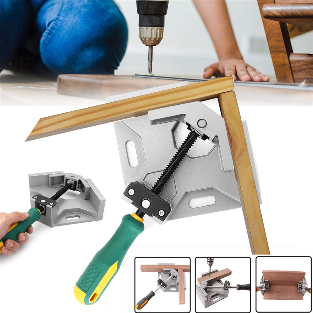 90 Degree Aluminum Alloy Single Handle Right Angle Clamp Adjustable Carpenter Clip Fish Tank Picture Woodworking Frame Clip Tool90 Degree Aluminum Alloy Single Handle Right Angle Clamp Adjustable Carpenter Clip Fish Tank Picture Woodworking Frame Clip Tool