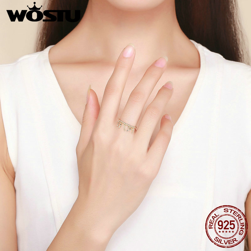 Image 5 - WOSTU 100%Real Original Golden Color Note With Round Finger Ring For Women Noble Fashion Jewelry Ring For Gifts  BKR489Rings   -