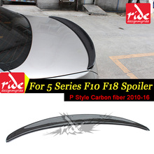 For BMW F10 F18 Rear Spoiler P Style 5-Series 535i 530i 528i 525i Carbon Fiber Rear Trunk Spoiler Wing Lip Car Styling 2010-2016 5 series carbon fiber rear bumper lip spoiler diffuser for bmw f10 m sport sedan 2012 2016 d style grey frp dual exhaust two out