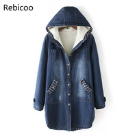 Autumn Winter Women Denim Jacket Coat Korean Warm Hooded Jeans Coat Big Size Casual Female Denim Thick Cotton Jacket