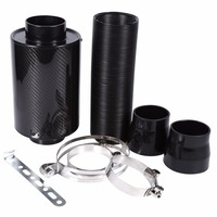 1 Set Universal Car 3 inch Carbon Fibre Cold Air Filter Feed Enclosed Intake Induction Pipe Hose Kit Universal