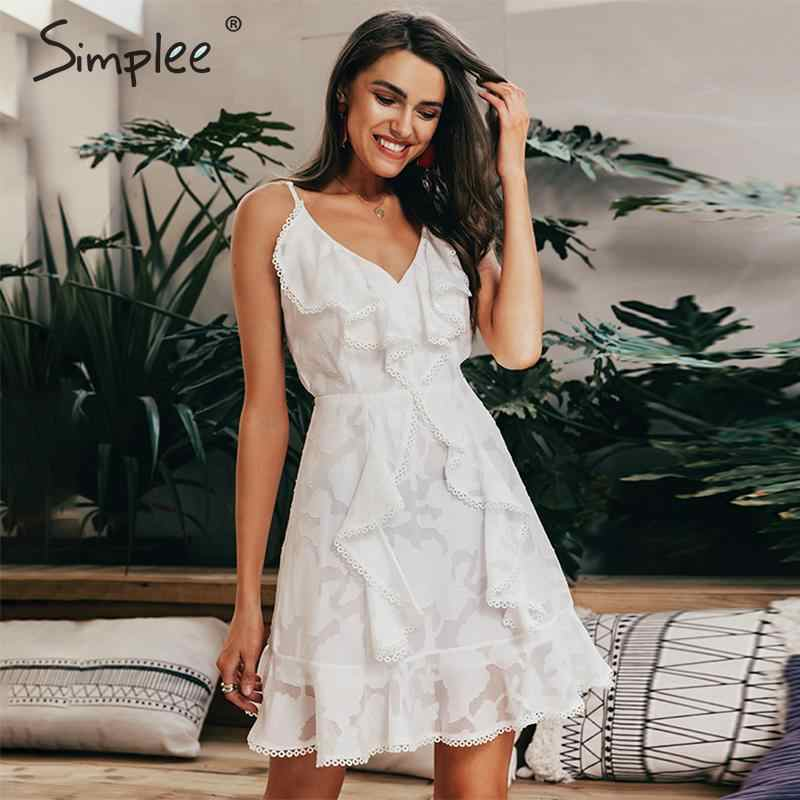 Simplee Sexy v neck ruffle women summer dress Spaghetti strap white floral chiffon short vestidos Holiday beach casual dresses