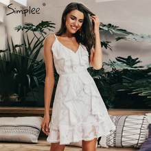 Simplee Sexy v neck ruffle women summer dress Spaghetti strap white floral chiffon short vestidos Holiday beach casual dresses(China)