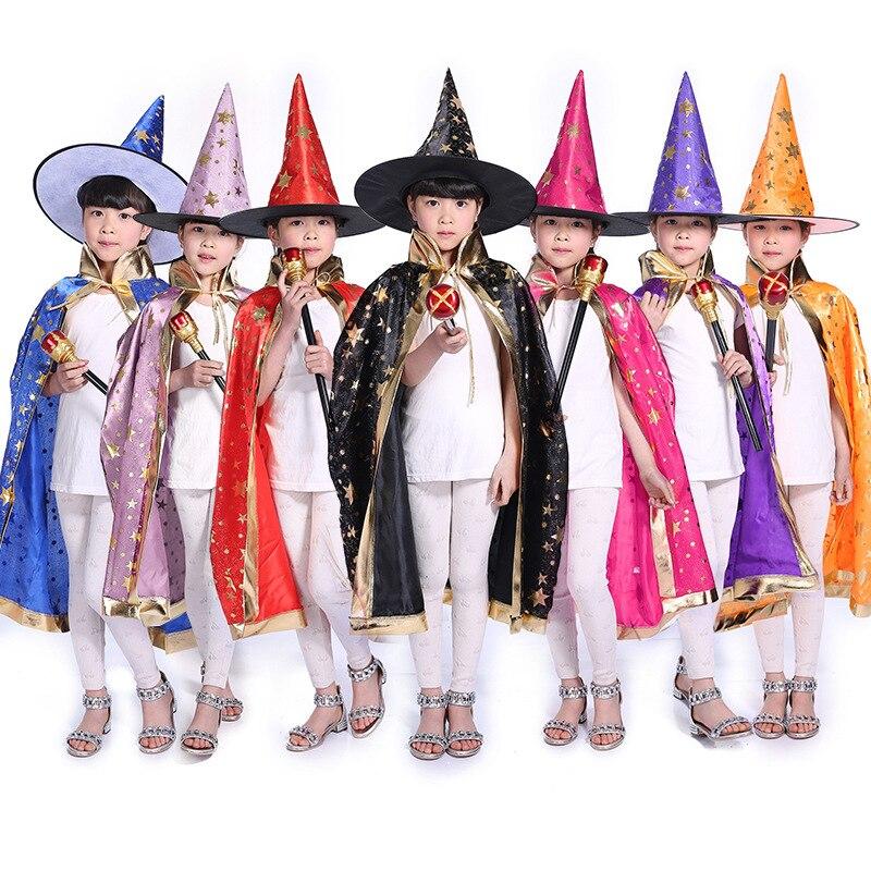 Halloween Kids Wizard Witch Cloak Cape Cosplay Children Birthday Fancy Dress Christmas Costume