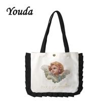 Youda New College Style Canvas Bag Cute Shoulder Bags Pearl Girl Print Handbag Double Model Tote Ruffled Decorative Handbags