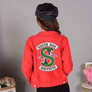 Image 5 - Джинсовая куртка Riverdale женская с надписью «South Side Serpents», уличная одежда, топ из денима, джинсовая одежда в стиле Харадзюку, хип хоп, весна