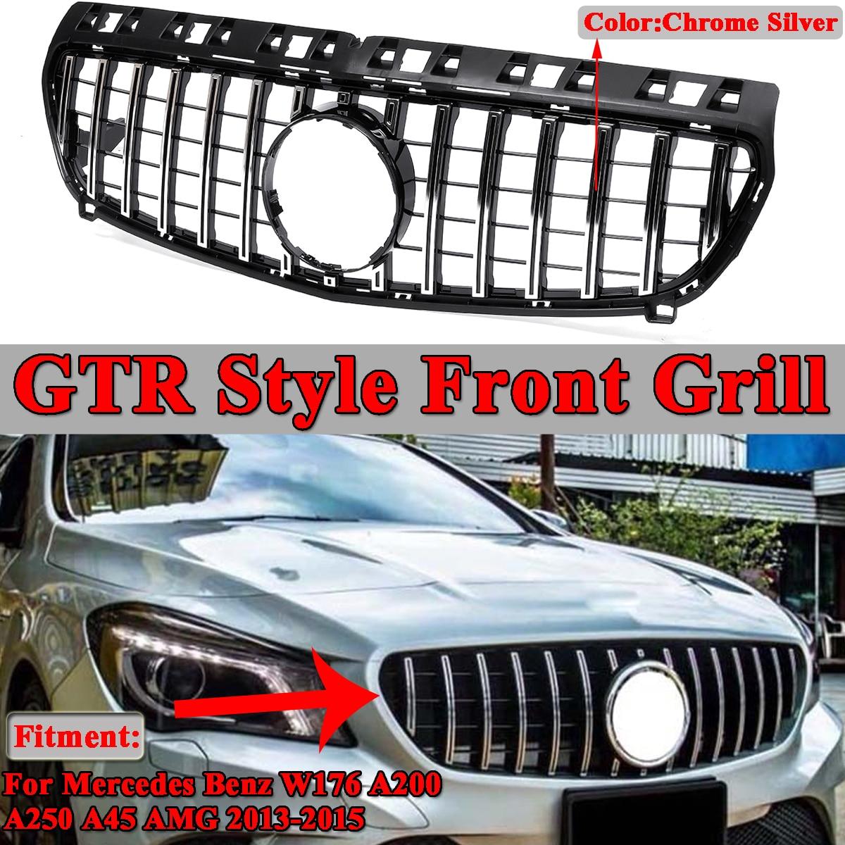 Estilo do carro GTR Racing Frente Grill Grills Para Mercedes Benz Para Facelift W176 A180 A200 A250 A45 Para AMG 2013 -2015 Sem Emblema