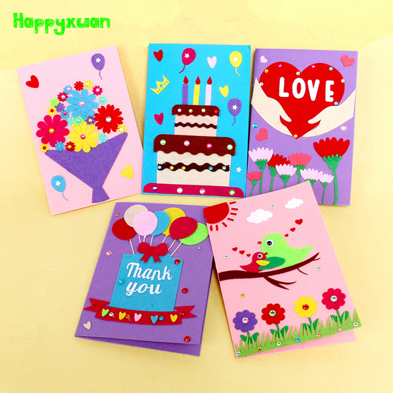 Happyxuan 5pcs DIY Handmade Greeting Card Kits Envelope Kid Non Woven Felt Fabric Toy Preschool Educational Supply Birthday Gift