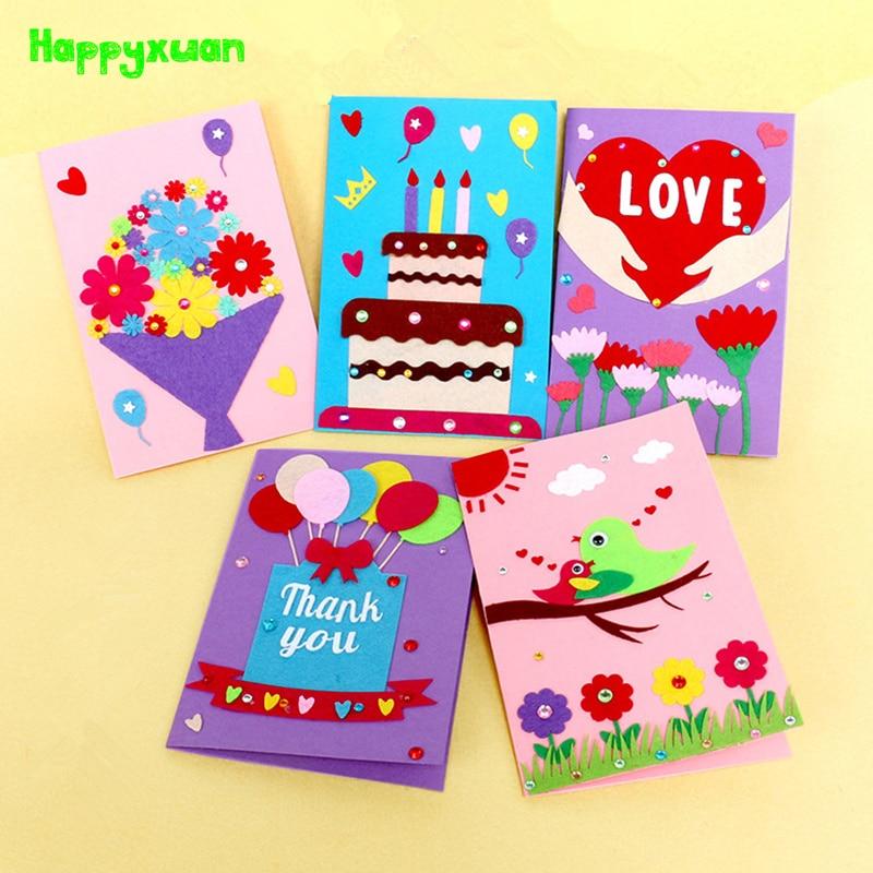 Happyxuan 5pcs DIY Handmade Greeting Card Kits Envelope Kid Non Woven Felt Fabric Toy Preschool Educational Supply Birthday Gift