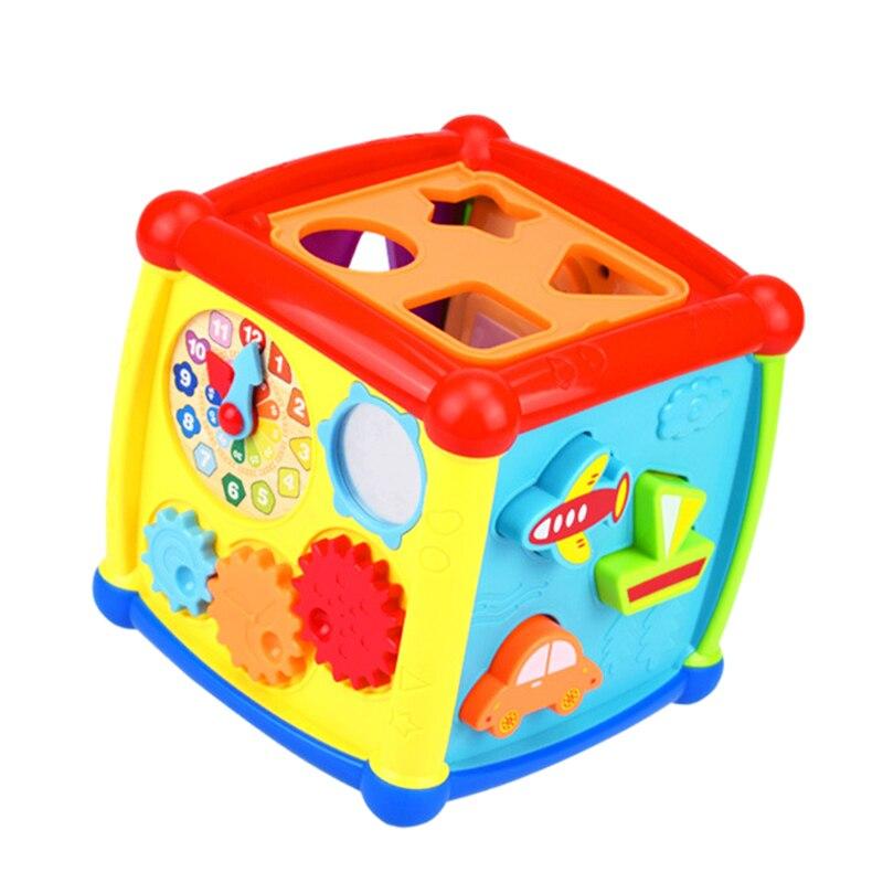 2019 Mode Baby Geometrische Vorm Pairing Multifunctionele Muziek Speelgoed Muziek Elektronische Speelgoed Versnelling Klok Geometrische Bouwstenen Sorteren Voor 6-