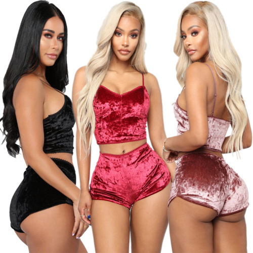 Women 2019 Sexy Solid Velvet Two-piece Lingerie Sleepwear Lace Nightwear Pajamas Chemise Top+Short Pants