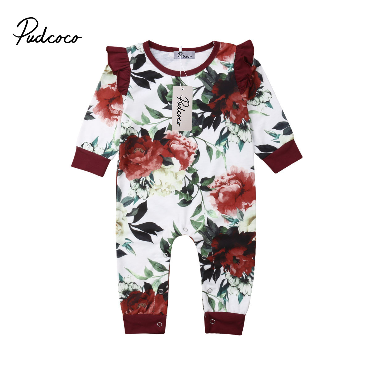 2019 Fashion Floral Baby Girl Long Sleeve Flower   Romper   Jumpsuit Outfit for Newborn Baby Girl Infant Children Cloth Kid Clothing