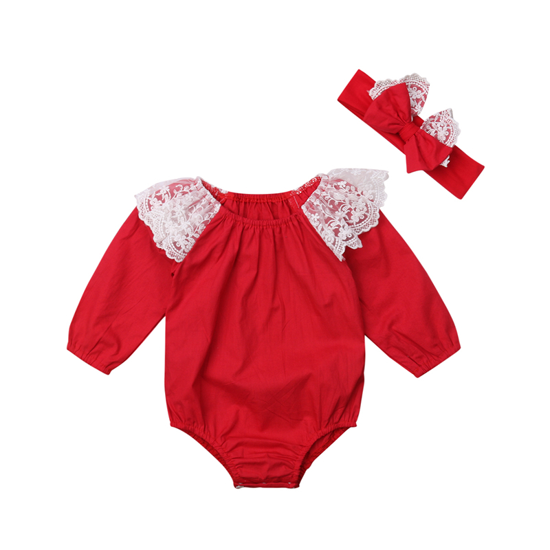 2pcs Christmas Newborn Bodysuit Lace Baby Girl Clothing Baby Bodysuit Cotton Jumpsuit Red Toddler Girl Clothing Infant Jumpsuit Girls' Baby Clothing