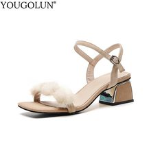 Women Fluffy Fur High Heels Sexy ladies Sandal Open Toe Black Apricot Fashion Shallow Outside Casual Summer Party Shoes B101(China)