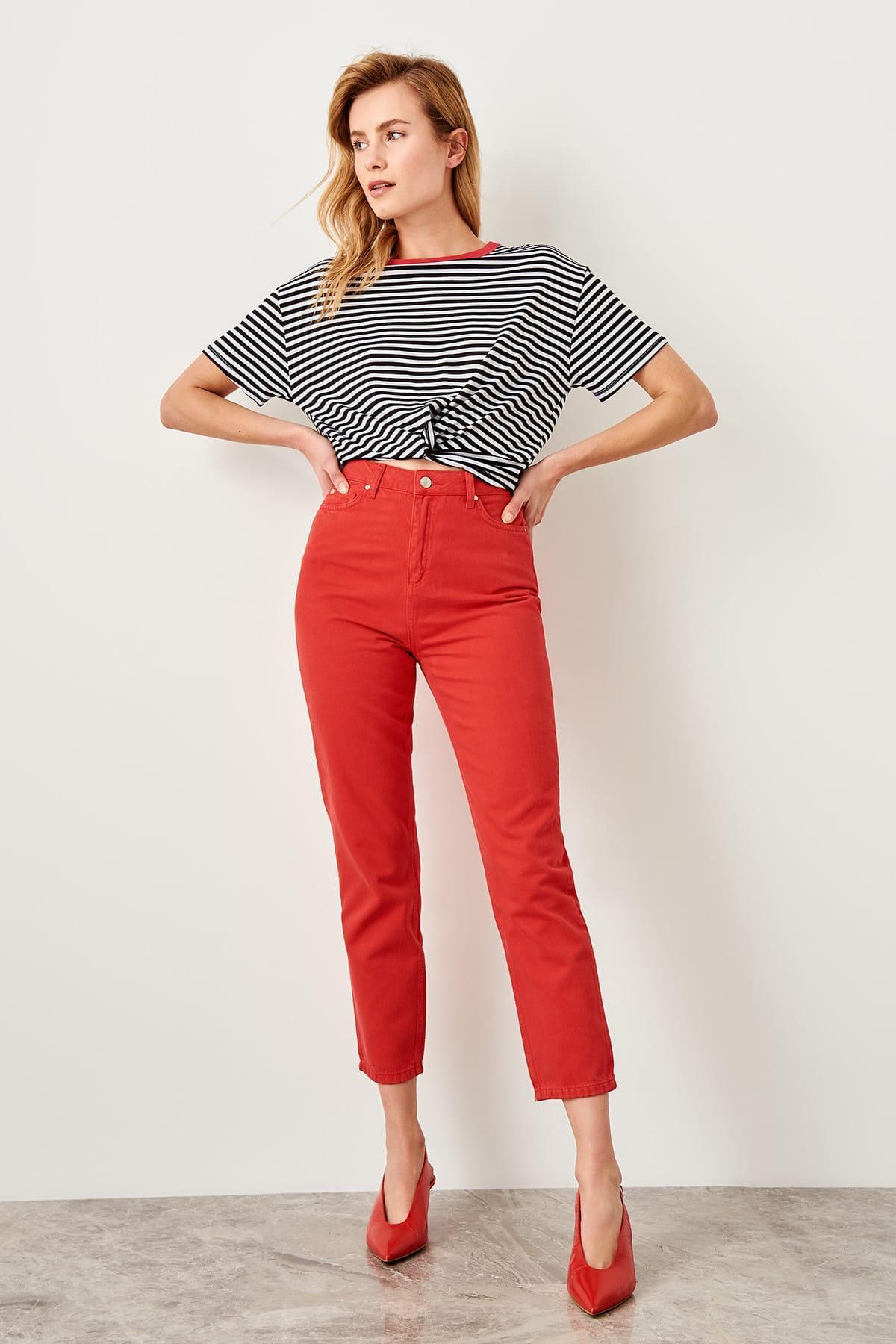 Trendyol Red High Waist Mom Jeans TWOSS19LR0206